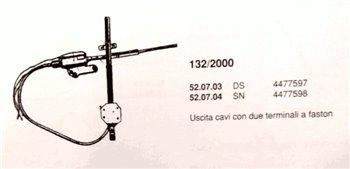 Alza cristalli elettrico DX Anteriore Fiat 132 2000cc (or 4477597)