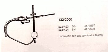 Electric window regulator DX Front Fiat 132 2000 cc (or 4477597)