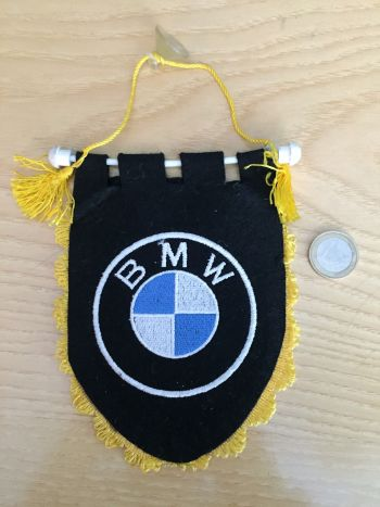 BMW - GAGLIARDETTO D'EPOCA VINTAGE IN STOFFA 14X10 NERO