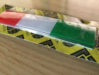Adesivo Sticker Smaltato Tricolore Bandiera Italia 10x2 cm